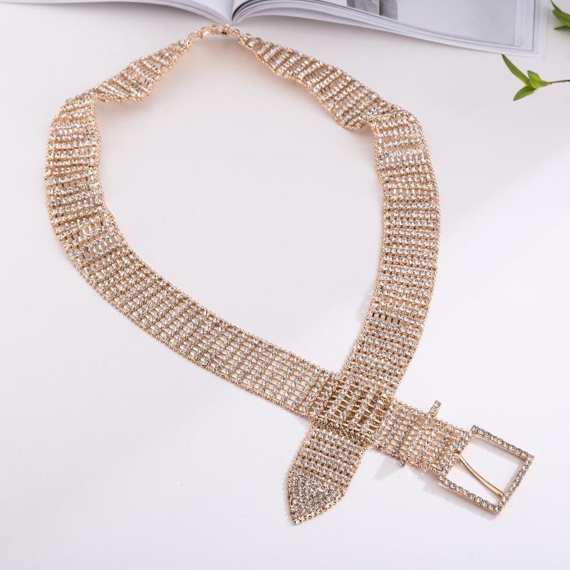 Lujo de la manera 10 Fila brillante completo embutida Rhinestone de las mujeres de la correa de mujeres novia de ancho Cummerbunds cadena cristalina de la cintura de la boda