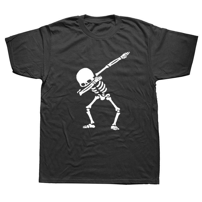 Hip Hop tamponando Mens di scheletro T-Shirt Camicie nero punk uomini divertenti Skull T Shirts