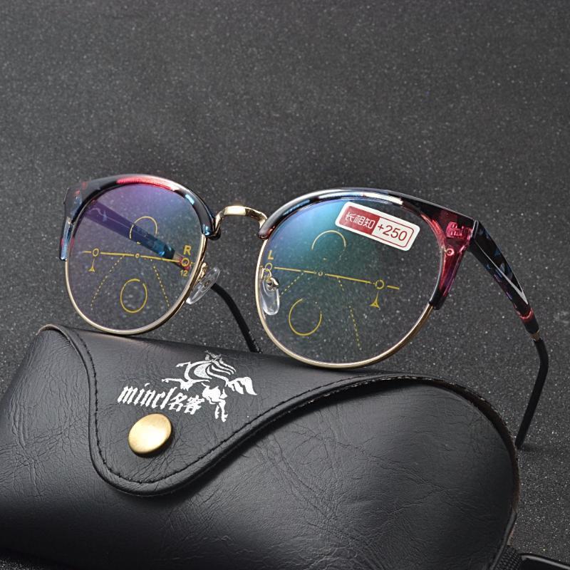 Light Blue bloqueio de leitura dos vidros Homens Óculos 2,5 Multifocal Progressiva Quadro Mulheres Perto Longe vista dioptria Eyewear NX
