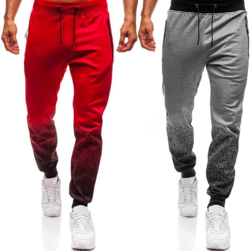 Мужские брюки Спорт Бег бегуны Повседневная Мужчины Градиент Цвет Drawstring Спорт Jogger Брюки Брюки спортивные штаны