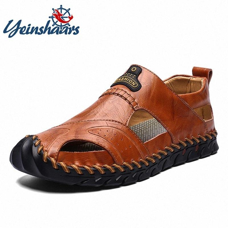 YEINSHAARS Yeni Gerçek Deri Erkek Ayakkabı Açık Hafif Flats Yaz Ayakkabı Rahatlık Sahil Casual Erkek Sandalet Büyük Boy 48 oRD3 #