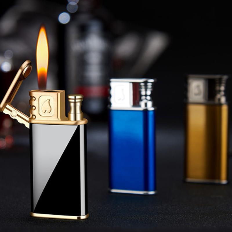 Torch Lighter Doppia Fiamma commutabili Lighter metallo creativo butano ricaricabile Gas accessori accendisigari