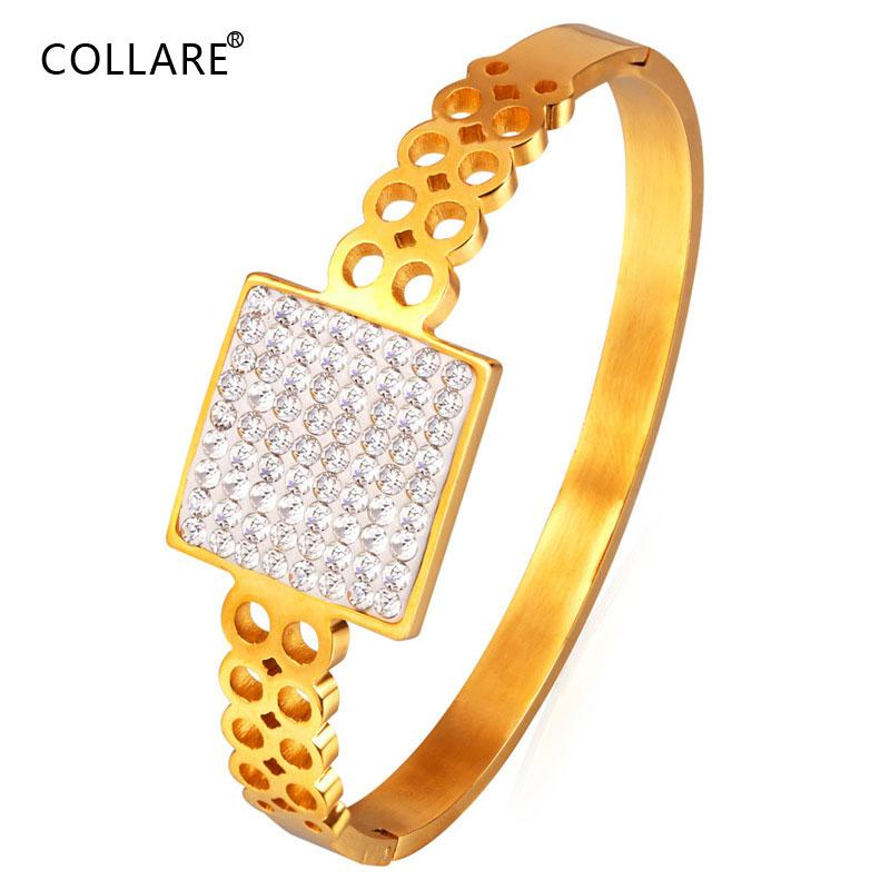 Kadınlar Kristal Rhinestone Hediye 316L Paslanmaz Çelik Erkekler Takı Altın Renk Bileklikler Bilezikler H037 için Collare Basit Bilezik