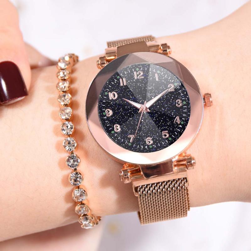 Frau Dame-Quarz-Uhr-Mode-Sternenhimmel konvexer Glas Quarz-Ineinander greifen mit Magnetschnalle Uhr reloj mujer relogio feminino