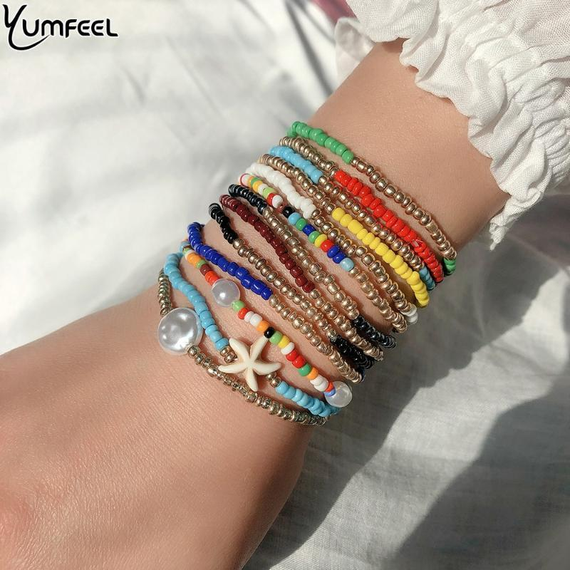 Yumfeel бифштексы многоуровневых браслеты для женщин Boho бисер браслетов ювелирных изделий партии подарка