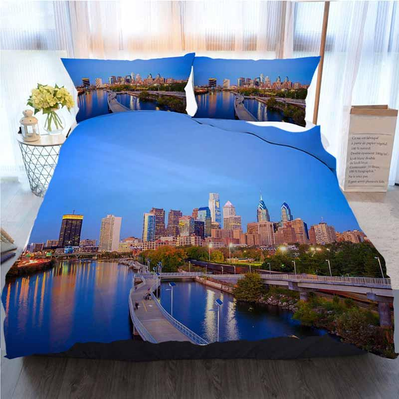 Ropa de cama Conjunto 3 piezas funda nórdica, Horizonte céntrico de Filadelfia, suave edredón del consolador de la cubierta Casa de lujo