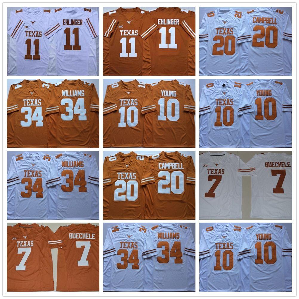 NCAA Техас Longhorns 11 Сэм Ehlinger 10 Винс Янг 34 Ricky Williams 20 Эрл Кэмпбелл Американский футбол мужской Трикотажные университета Футбол