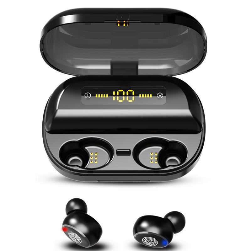 TWS V11 Bluetooth 5.0 Kulaklık LED Ekran Kablosuz Kulaklık Su geçirmez Stereo Spor Gaming Headset ile 4000mAh Charing Kılıf