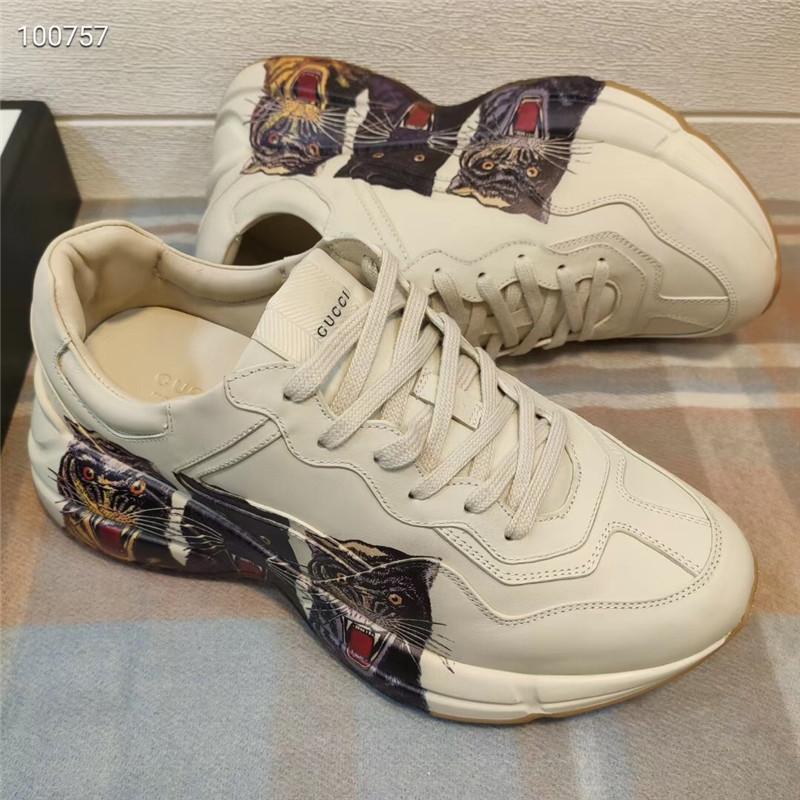 Les hommes baskets en cuir Rhyton tigres Designer Shoes Soled conception des Rhyton Sneaker Luxe chaussures de loisirs