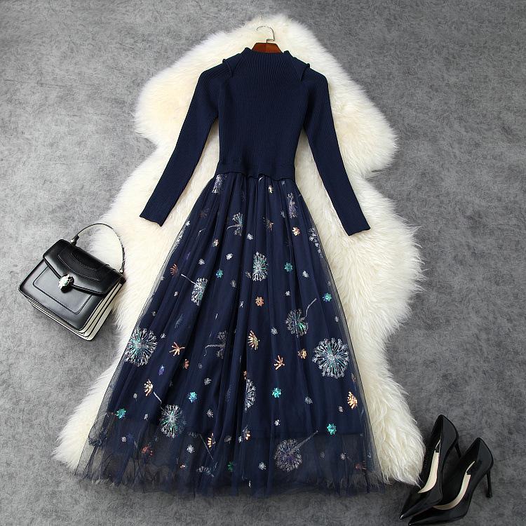 유럽과 미국의 여성 의류 2020 겨울 새로운 스타일의 7 점 슬리브 칼라 접합 자수 장식 조각 드레스 메쉬