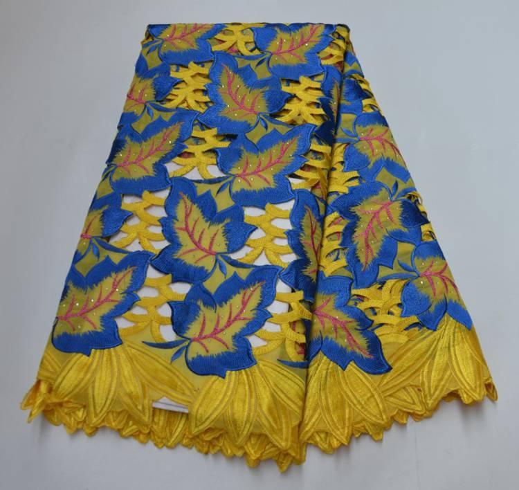 Hot Selling African Nigerian Handcut Swiss Voile Lace With Stones 2020 High Quality African 100% Cotton Lace Fabric YW7340