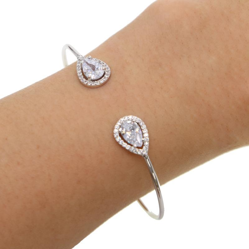 Rose gold color wedding engagement gift middle sized fashion women CZ bangles elegant sparking bling Stone trendy bracelet