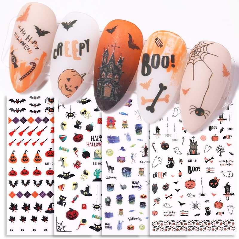 1 Blatt 3D Nail Sticker Bat Kürbis Spinnen-Muster-Nagel-Kunst-Aufkleber Halloween-Kunst-Dekoration
