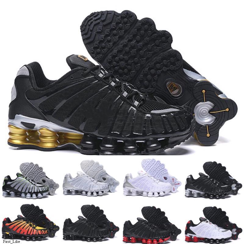 Shox TL Naranja Negro Plata Bule TL para hombre de los zapatos corrientes de las zapatillas de deporte transpirable Negro Blanco deportes al aire libre para caminar Chaussures