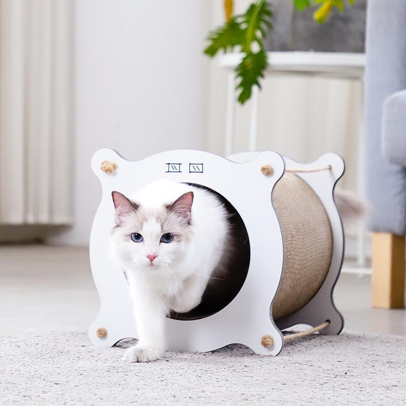 Invierno Cama cueva del gato Rascador de cartón cama de mimbre casa del gato bolsa de sisal Legowisko Dla Kota túnel Ferret perrera 50MW82