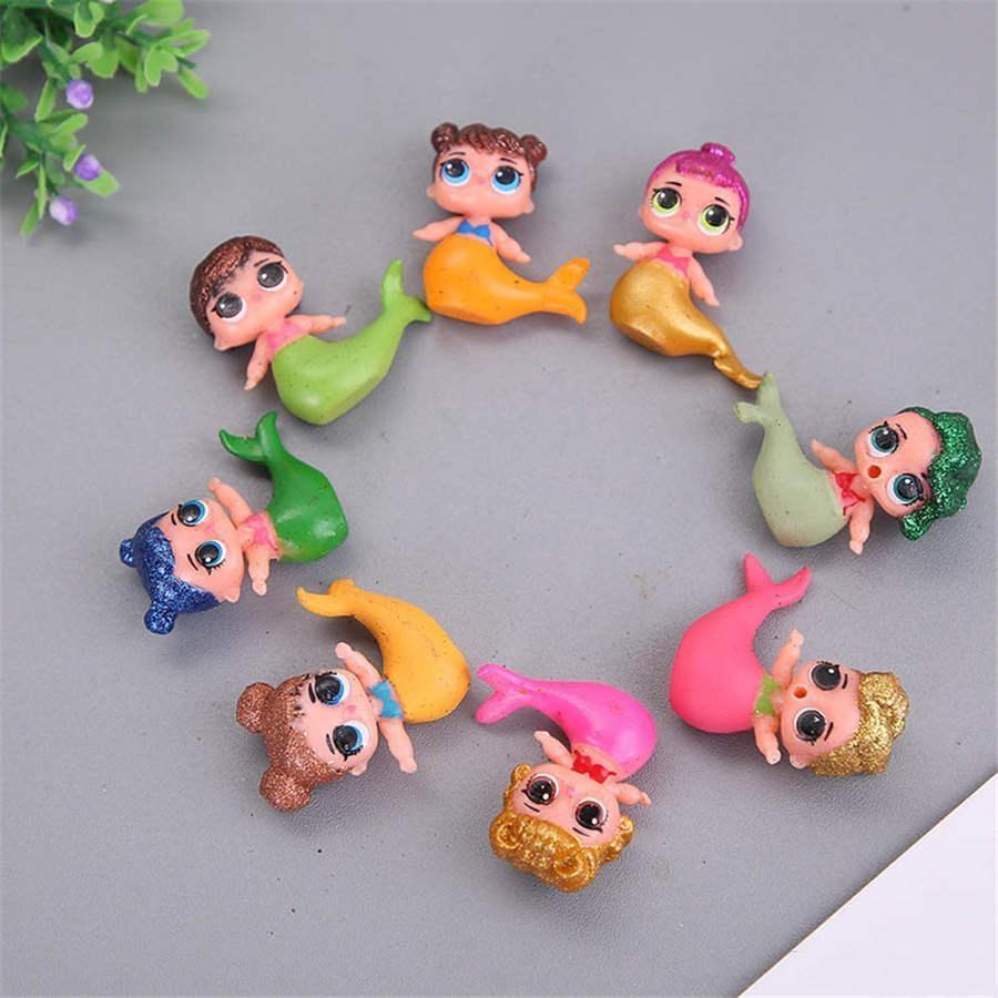 Çocuk Oyuncakları 8 adet Sürpriz Mermaid Karikatür PVC Bebek Altın Toz Anime Oyuncak Kek Dekorasyon