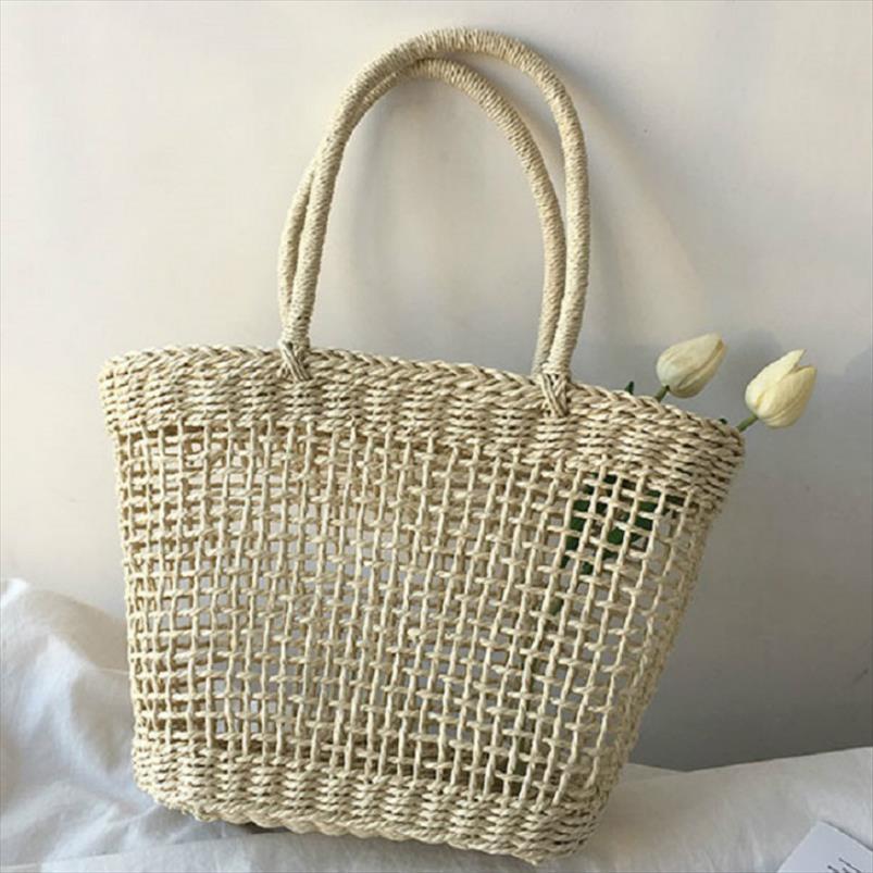 Mulheres Summer Beach Hawaii férias Straw Handbag Rattan Woven Wicker Basket Tote