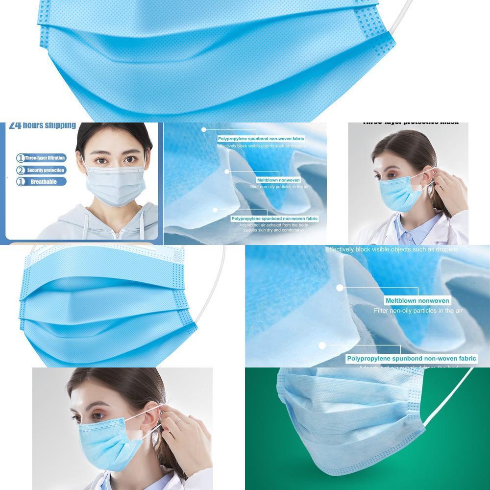 100pcs espessamento descartável Máscara Facial 3 camadas Máscaras não-tecidos Características 50pcs / caixa LV935 KOLG0 TNA3