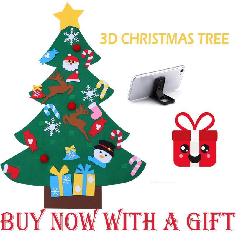 Feltro regali di natale albero di Capodanno fai da te giocattoli per bambini artificiale Albero Wall Hanging ornamenti decorazione di Natale per la casa