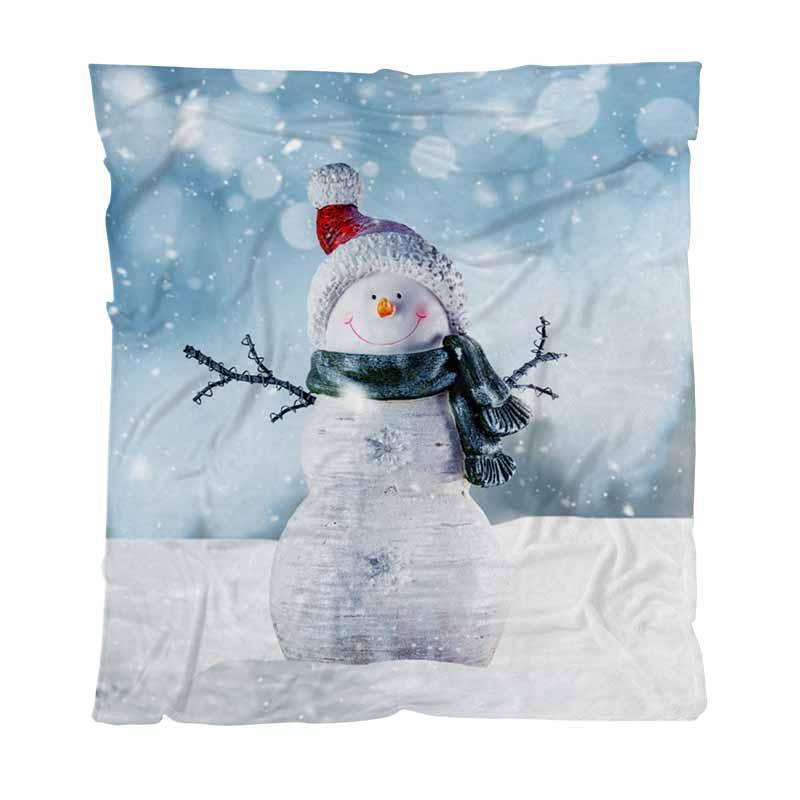 Bonhomme de neige de luxe Super Soft Throw Blanket heureux bonhomme de neige en hiver couverture chaude Throw Pour Canapé-lit doux Couvertures solides Couvre-lit en peluche