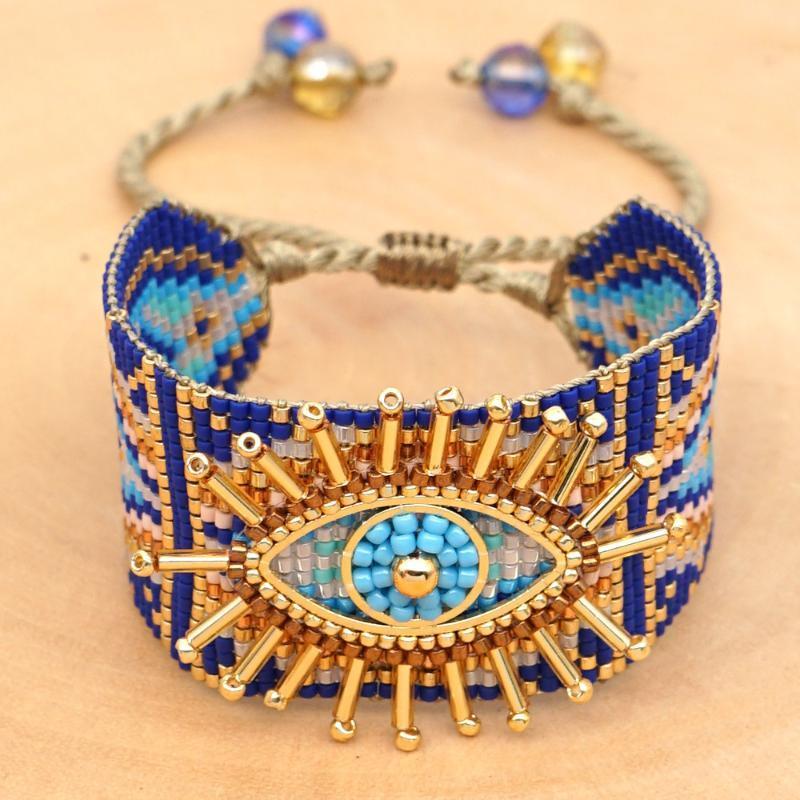 importações WT-B543 japonesas Miyuki pérolas de arroz tecidos à mão azul turco olho do mal feminino pulseira boho weaven pulseira contas