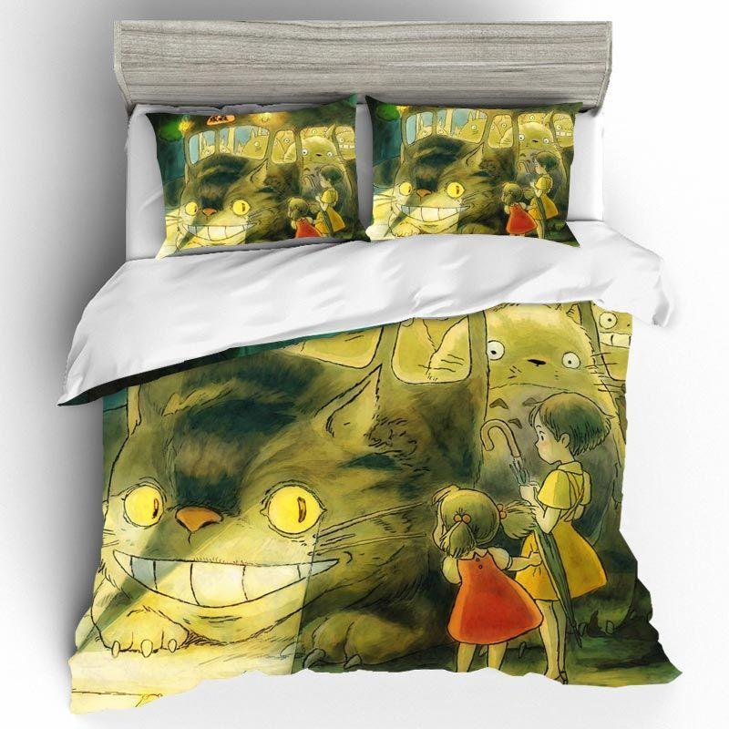 Cute Totoro Bed Linen Set Cartoon Anime Bedding Set Duvets And Linen Sets Roupa De Cama Bed Sheets and Pillowcases Home Textiles