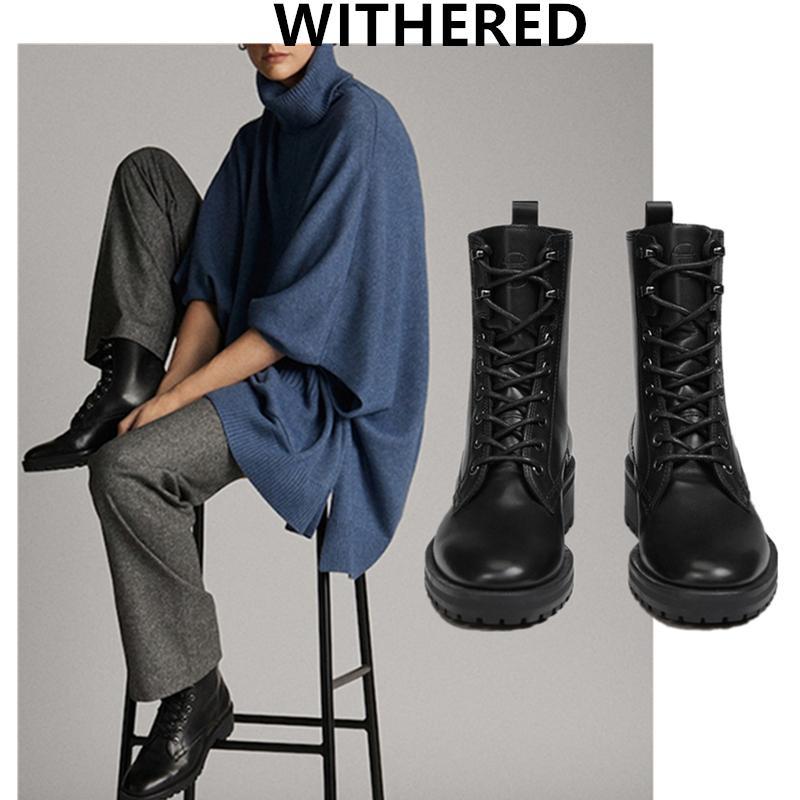 Marchita inglaterra piel de vaca de alta moda vintage botas superiores de la motocicleta mujer botines zapatos de mujer botas MUJER mujeres de los zapatos