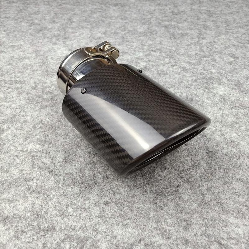 Un pieza modelo oval Akrapovic Coche Tubo de escape de fibra de carbono brillante + puntas de acero inoxidable Tubos finales de silenciador