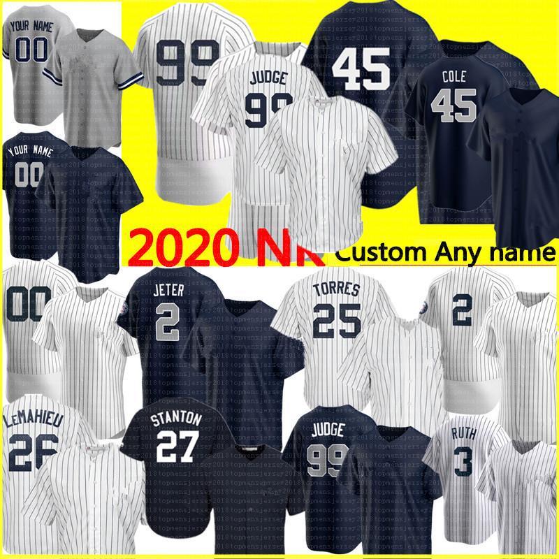 2020 personalizzato 99 Aaron Giudice 2 Derek Jeter 45 Gerrit Cole Jersey Gleyber Torres Don Mattingly Babe Ruth Mariano Rivera Giancarlo Stanton