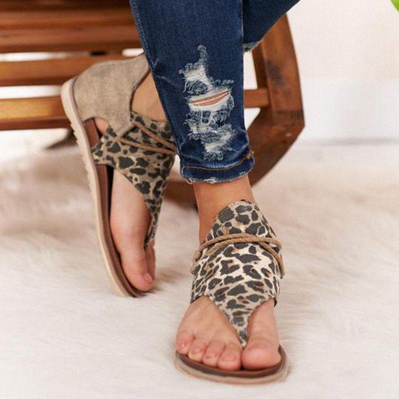 2020 Летний ремень сандалии женщин Flats Open Toe Leopard Повседневная обувь Рим Плюс Размер 36 43 Thong сандалии Sexy Женская обувь Девушки zKfx #