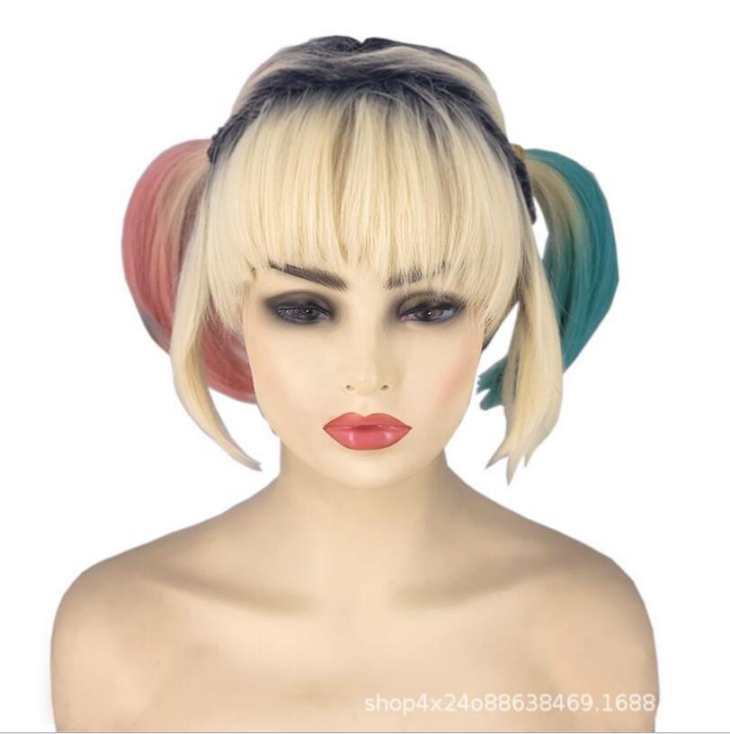 Livraison gratuite mode équipe Suicide Raptor Harry Quinn petite fille laid teint à double queue de cheval animation cosplay