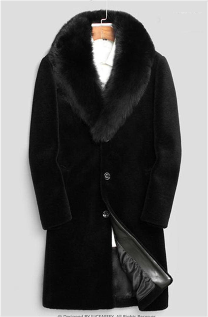 Hombres WINDBREAKER Uzun Yün Karışımları Outerwears Coats Siyah Kalınlaşmak Coat 20FW Kış Erkek Tasarımcı ceketler Isınma