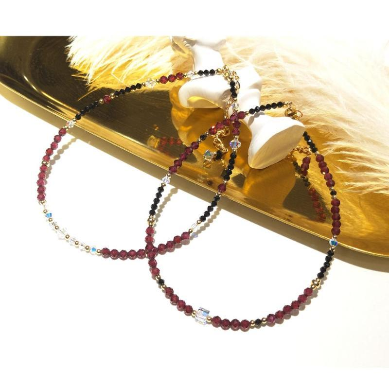 2021 Lii Ji Red Garnet Black Spinel Natural Stone With Austrian Crystal Beads Anklet American 14k Gold Filled 24 5cm From Motoitems 33 13 Dhgate Com