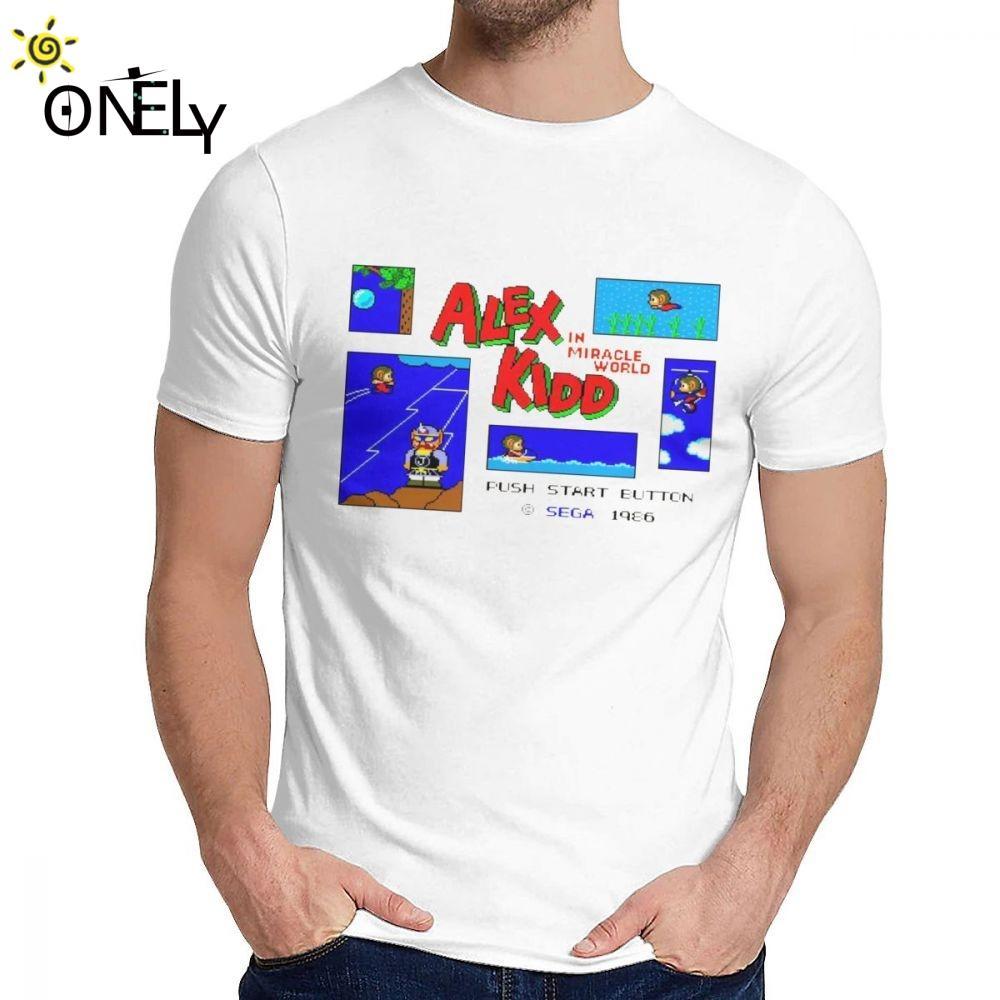 Mode Streetwear Alex Kidd dans Miracle monde sain coton T-shirt Homme doux grand T-shirt classique col rond