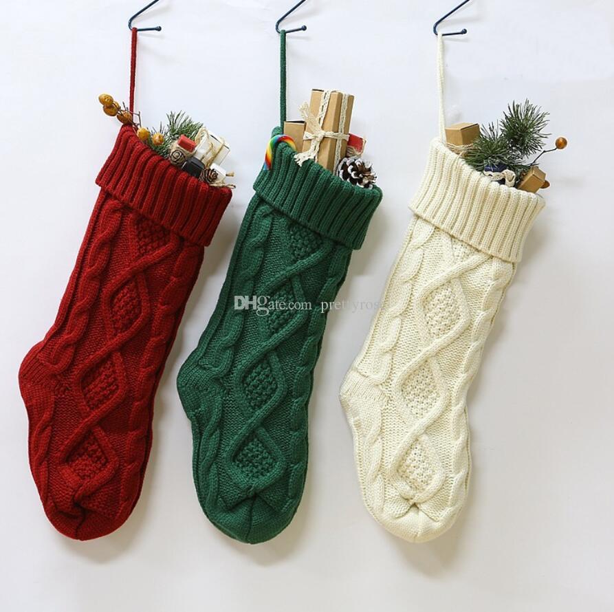 bolsa de regalo de Navidad de punto Medias duradero Chimenea media de la Navidad de Navidad Colgando Partido calcetines caramelo Inicio la decoración del jardín de DHL