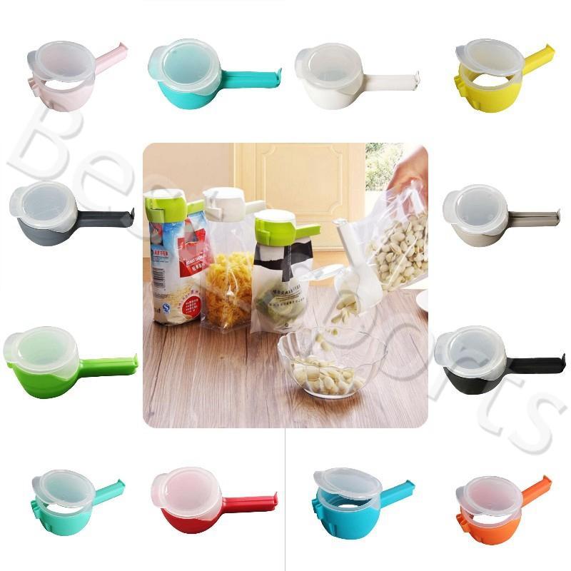 12 Farben Seal Gießen Lebensmittel-Speicher-Beutel-Klipp-Nahrungsmitteldichtungs-Klipp-Klemmplatte mit großen Abgabedüse Küche Lagerung Lebensmittel Werkzeugen YYA475 50pcs