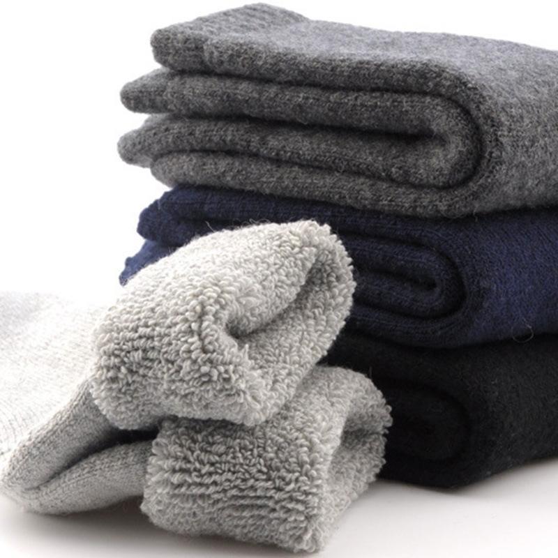 20200919 tube milieu chaud de fil épais d'hiver d'homme de couleur unie chaussettes éponge