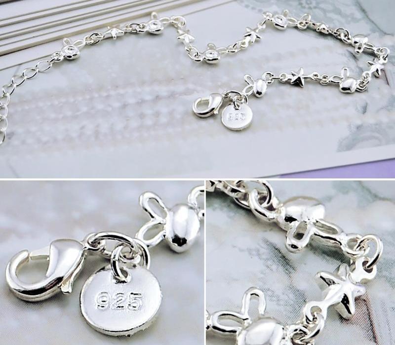 2020 Nouveaux 925 Bracelet en argent sterling Filles tête mignon étoile chaînette main 19cm femme solide en argent fin Jewelry66