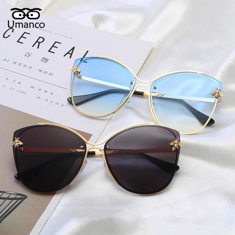 Umanco Hommes Tendez des lunettes de soleil sans cadre pour dames 2020 lunettes mode nouvelle lunettes de soleil femmes cadeaux petit soleil occidence abeille sauvage xlirn
