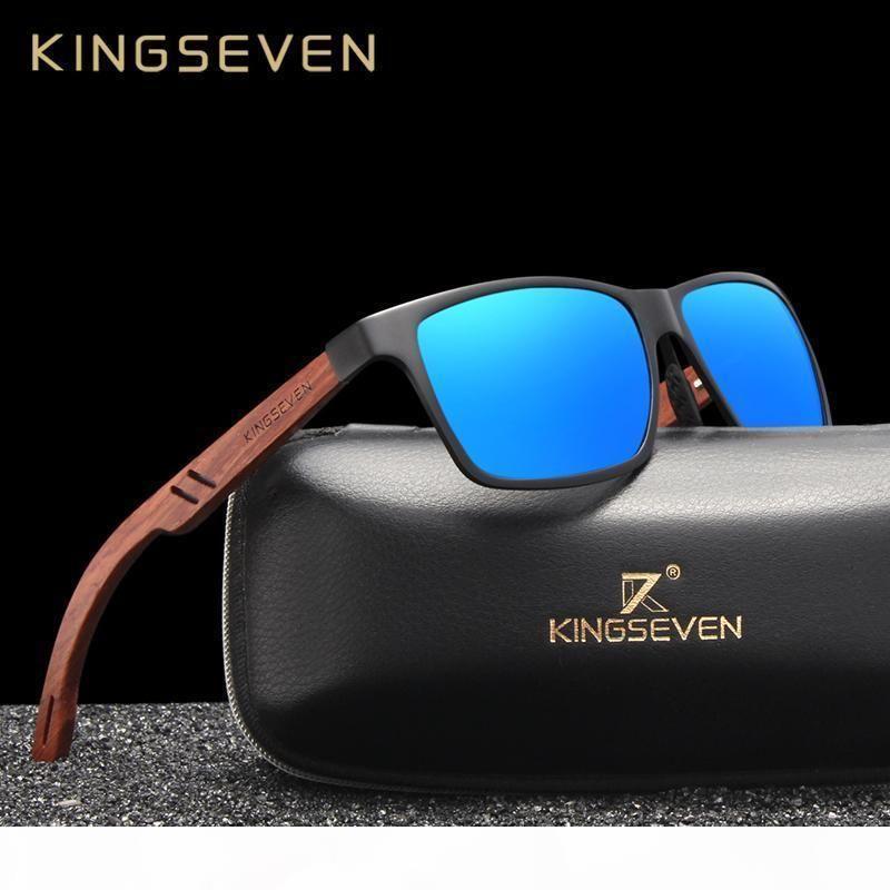 KINGSEVEN дизайн ручной работы Природные Бубинга Деревянные + Алюминий Солнцезащитные очки Мужчины поляризованные моды Солнцезащитные очки площади UV400 Gafas De Sol T200108