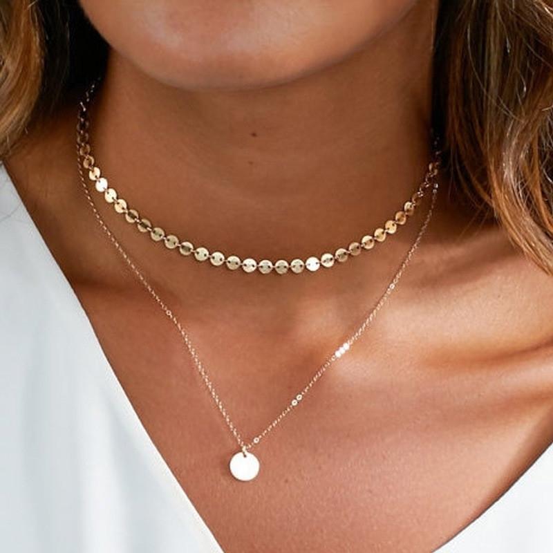 Modische Gold Farbe mit Fransen und Pailletten Halskette, böhmische Art Frauen, Schmuck Halskette für Frauen