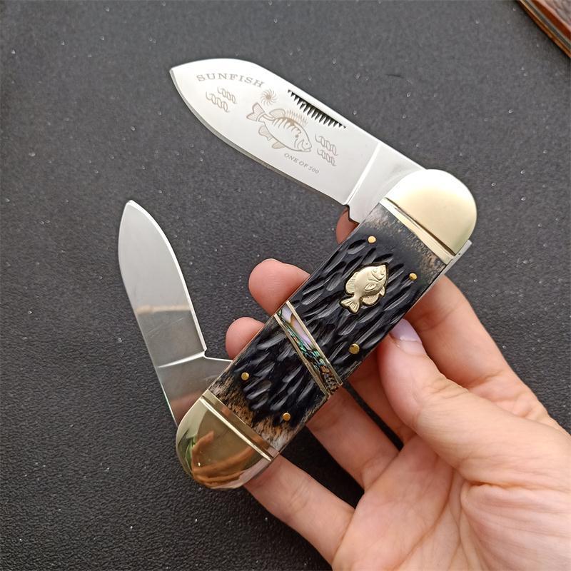 Herramientas cuchillo plegable de la promoción dos cuchillas EDC bolsillo 440C polaco del espejo de la lámina de hueso + Latón al aire libre que acampa yendo de EDC