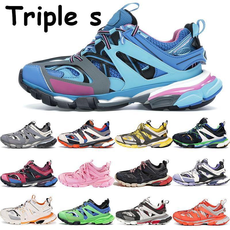 2021 Triple s homens mulheres sneakers plataforma sapatos de profundidade corredor azul brilho no escuro preto bordeaux branco cinza vermelho laranja mens tênis