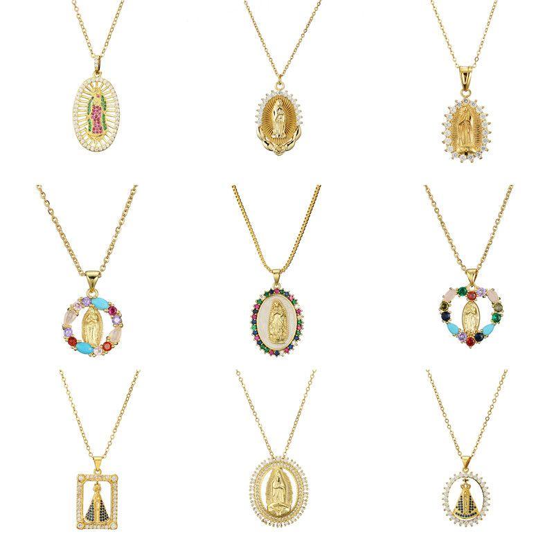 Дева Мэри Кулон Ожерелье Золото Бижуса Кристалл Ожерелье Женщины Мода Подвеска Католические Ювелирные Изделия