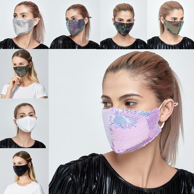 8 colores Lentejuelas hielo de seda de Bling 3D lavable Máscara Facial Sun del color oro brillante codo Mascarillas Cover Designer Con PM2.5 Filtrar