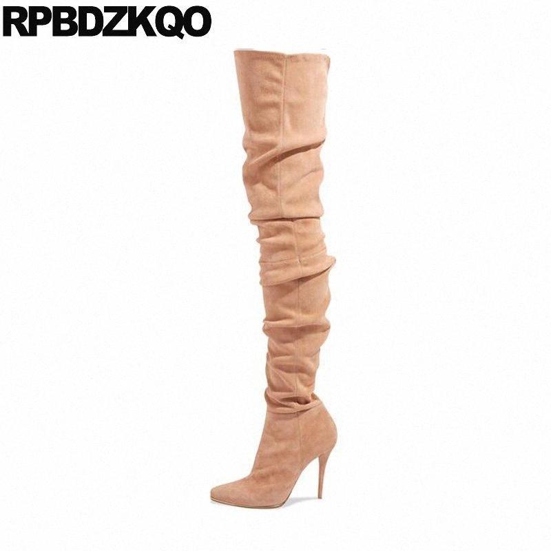 scarpe danza fetish coscia alta punta indicata sopra il ginocchio camoscio sottile donna stivali 13 45 alto estremo biforcazione tacco stiletto grande formato GgFt #
