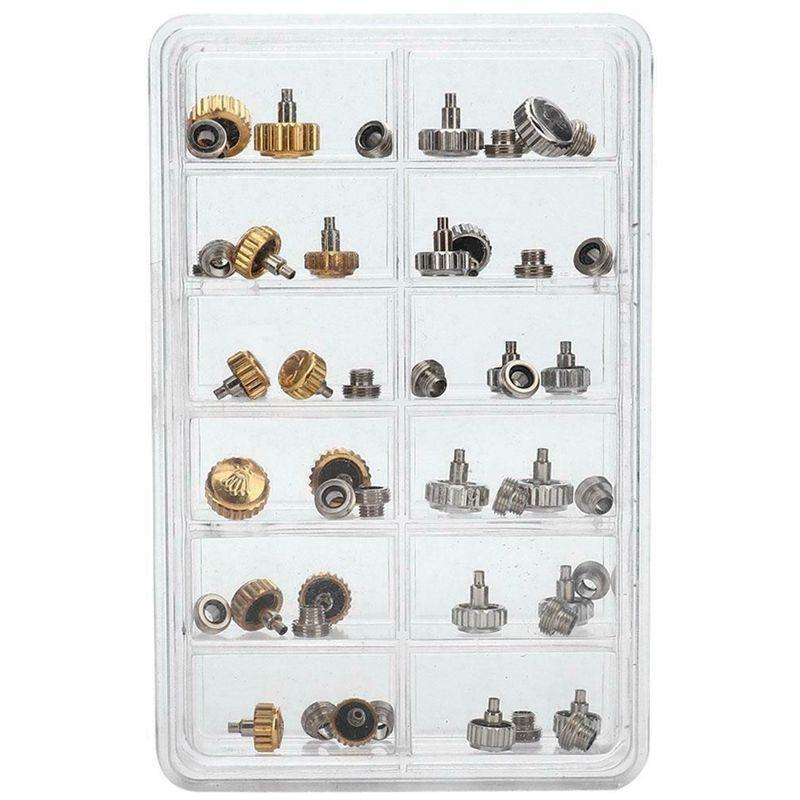 40PCS del reloj del reloj de reemplazo Coronas impermeable diversas herramientas de reparación con la caja