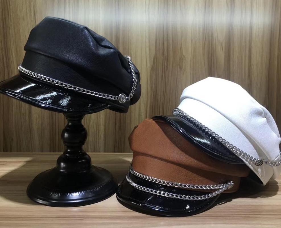 202007-YY cadena de metal de imitación de cuero de moda dama octogonal sombrero mujeres de los hombres gorra de visera