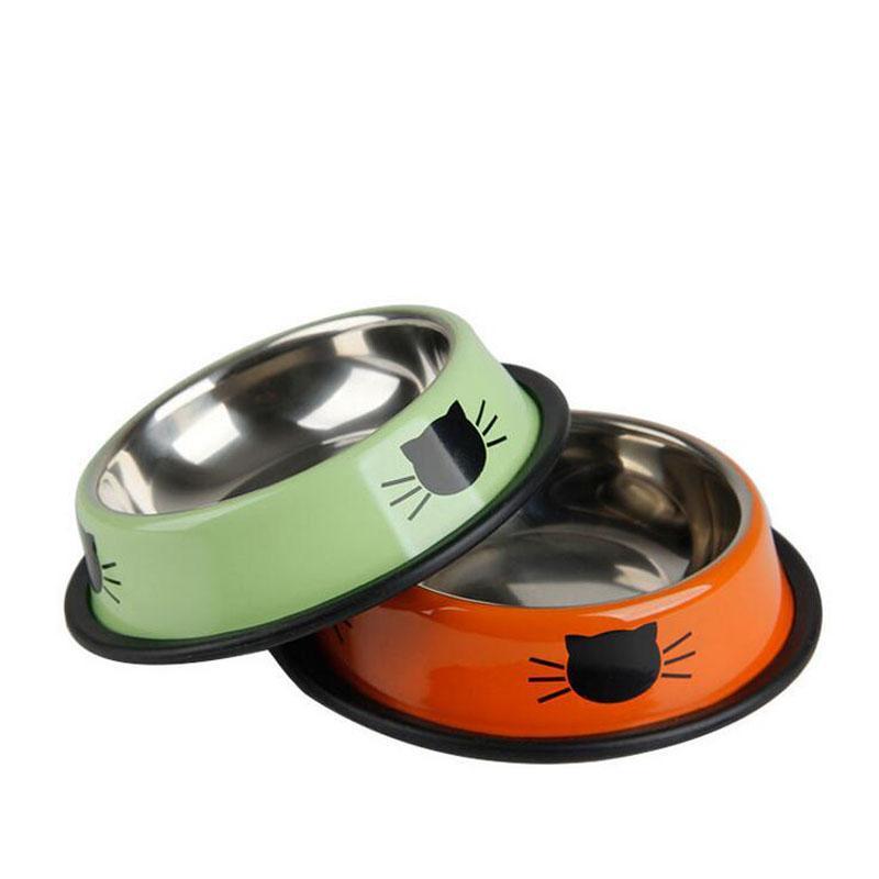 1Pcs cane gatto dell'acciaio inossidabile delle ciotole animali Drinking Feeding Bowls Pet Supplies antislittamento Cani Gatti Water Bowl Pet Strumenti