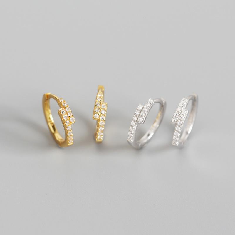 YPAY 100% genuino Argento 925 orecchini a cerchio per le donne l'Europa Mirco Piccolo Zirconi sfalsati Circle orecchino dei monili YME841